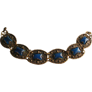 Vintage Czech Blue Glass Gold tone Panel Bracelet