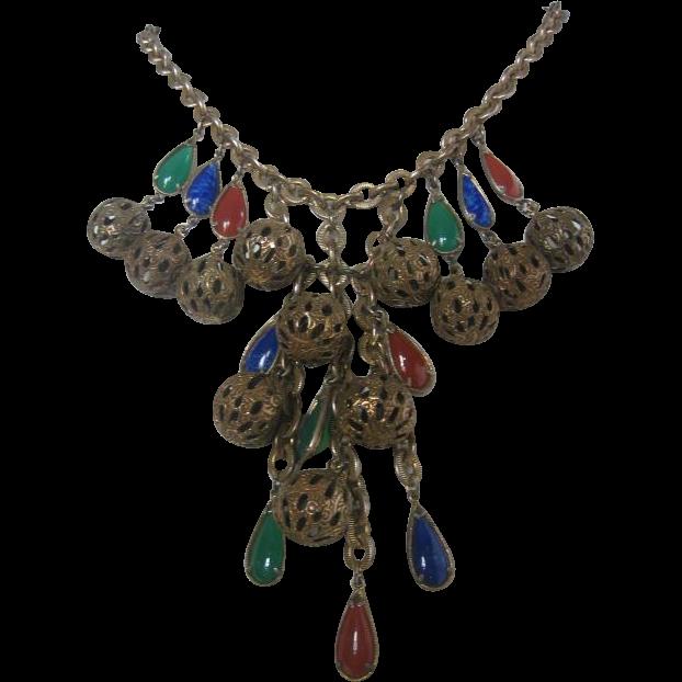 Vintage Brass and Glass Bib Necklace