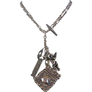 Victorian-Art Nouveau Sterling Watch Fob Chain-Match Safe-Key and Cherub Necklace