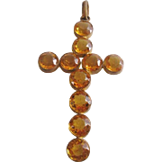 Vintage Large Gold Faceted Glass Cross-Pendant