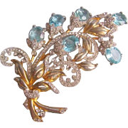 Vintage Large Floral Spray Open Back Light Blue Glass Pin-Brooch