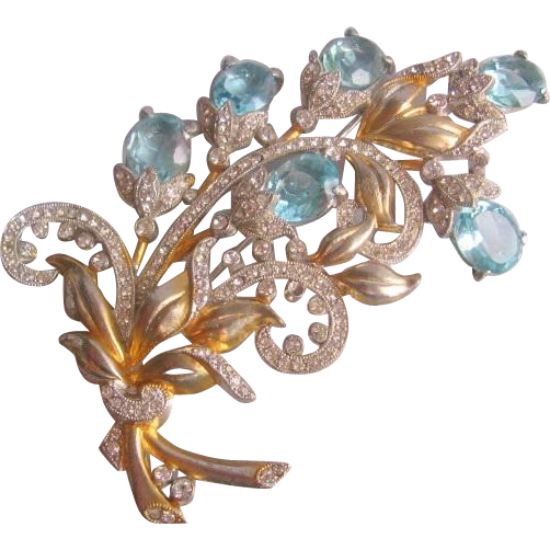 Vintage Large Floral Spray Open Back Light Blue Glass Pin-Brooch