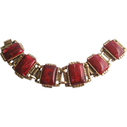 Vintage Marbled Red and Gold tone Panel Bracelet