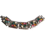 Vintage Multi Colored Rhinestone and Simulated Pearl Panel Bracelet