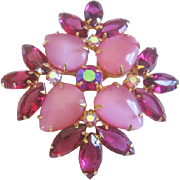 Vintage Pink Satin Glass and Raspberry Rhinestone Pin-Brooch