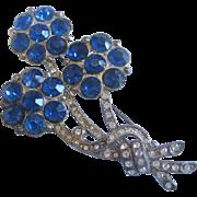 Vintage Cobalt Blue Reverse Set Rhinestone Floral Pot Metal Pin-Brooch