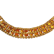 Vintage Sherman Amber and Gold Rhinestone Bracelet