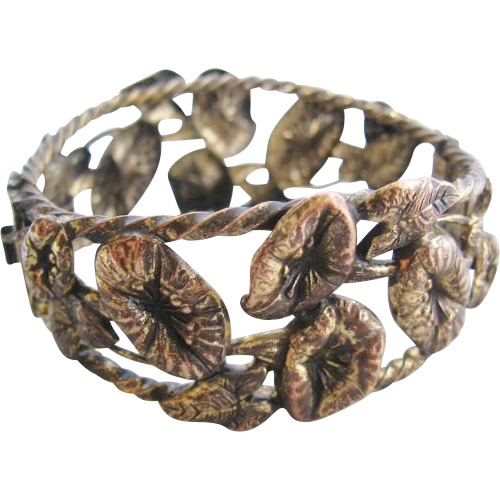 Vintage Brass Morning Glory Bracelet