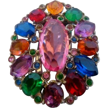 Vintage Czech Multi Colored Dress Clip