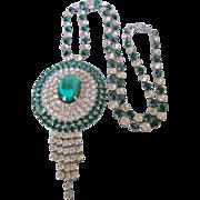 Vintage Huge Rhinestone Emerald Green and Clear Rhinestone Statement Necklace