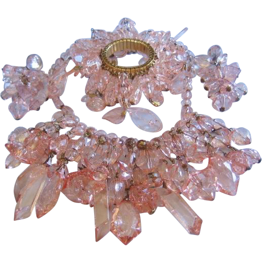 Vintage Pink Cracked Ice Acrylic Bib Statement Necklace/Earrings and Bracelet
