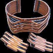 Vintage Mid Century Renoir Copper Cuff Bracelet and Earrings Set