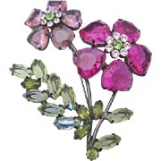 Vintage Large Acrylic Pink Flower Pin-Brooch