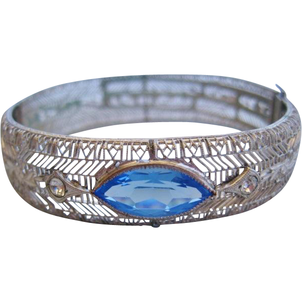 Vintage Transitional-Art Deco Filigree-Pierced Chromium Bangle Bracelet- Simulated Blue Glass Stone