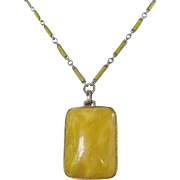 Vintage Art Deco Yellow Satin Glass Necklace