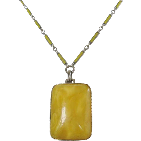 Vintage Art Deco Yellow Satin Glass Necklace