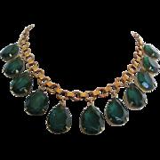 Vintage Emerald Green Teardrop Glass Bib Necklace