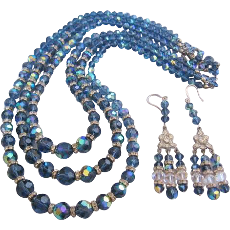 Vintage Three Strand Blue/Lavender Bib Necklace with Matching Earrings-Set