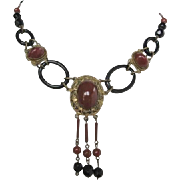 Vintage Art Deco Glass and Brass Necklace