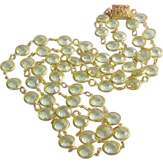 Vintage Double Strand Bezel Set Yellow Crystal Necklace