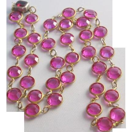 Vintage Cranberry Bezel Set Crystal Necklace