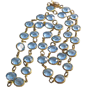 Vintage Light Blue Bezel Set Crystal Necklace
