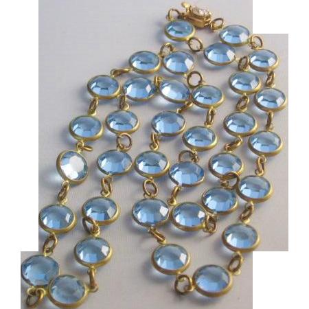 Vintage Light Blue Bezel Set Crystal Necklace