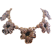 Vintage Silver Tone Cast Metal Floral Bib Necklace