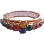 Vintage Czech Multi Colored Bangle Bracelet