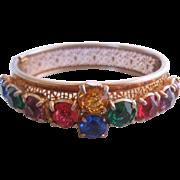 Vintage Czech Multi Colored Bangle Bracelet