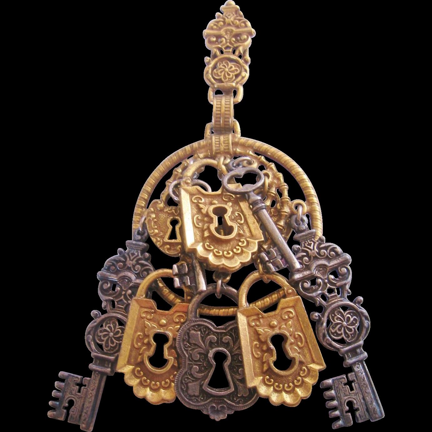 "Vintage Rare ""Art"" Lock and Key Pendant"