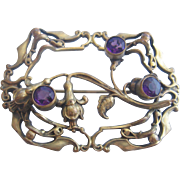 Vintage Brass Fuchsia  Art Nouveau Sash Pin-Brooch with Purple Glass