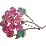 Vintage Open Back Pink Faceted Glass Trembler Floral Pin Brooch