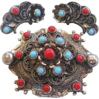 Vintage Sterling Simulated Coral and Turquoise Pin-Brooch and Earring Set