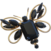 Vintage Black Rhinestone Butterfly Pin Brooch