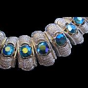 Vintage Mid Century Coro Sea Green Aurora Rhinestone Bracelet