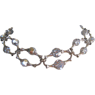 Vintage Mid Century Silver tone Bamboo Style Crystal Necklace