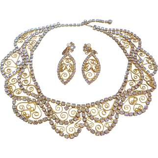 Vintage Scalloped Gold Swirl and Rhinestone Bib Necklace and Earrings