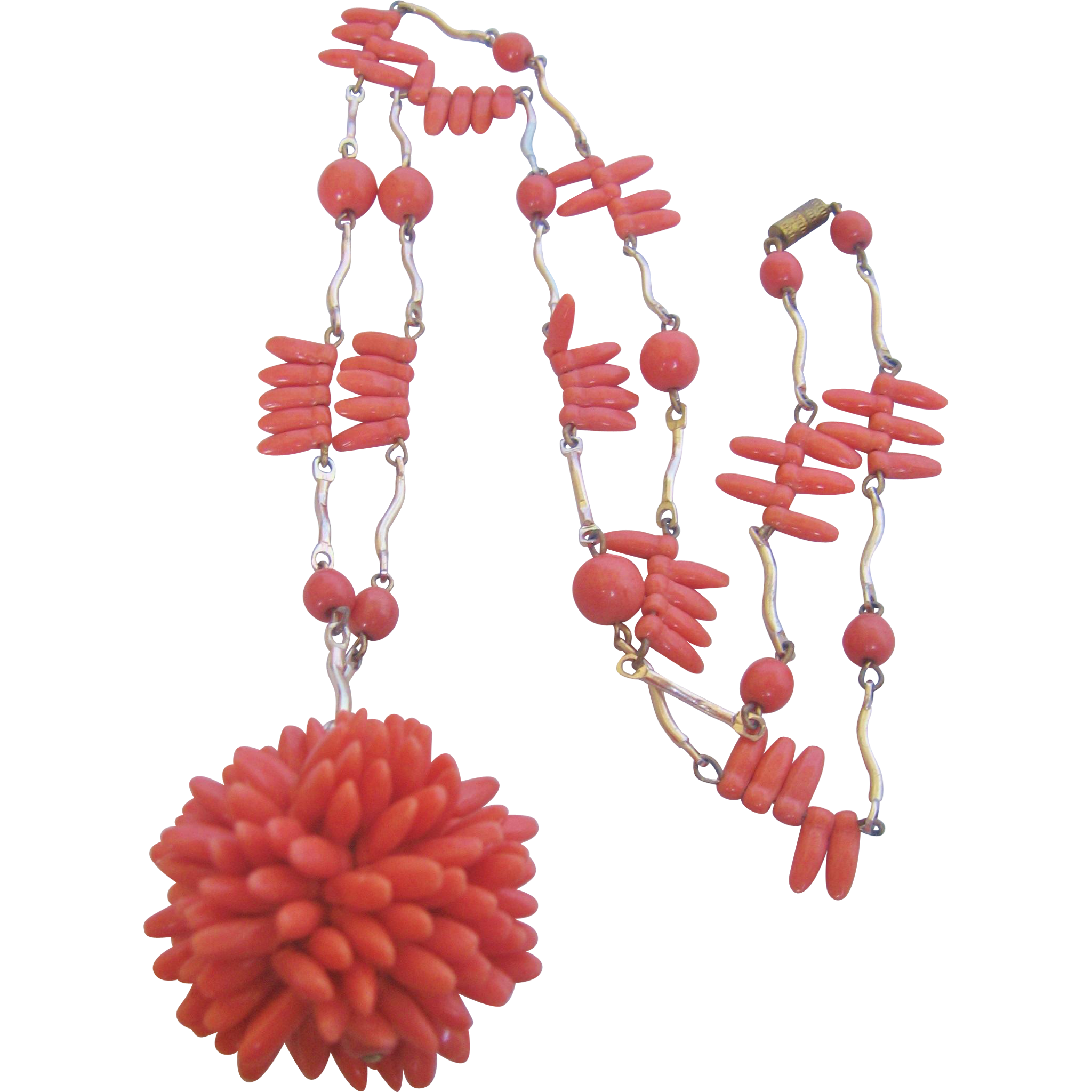 Vintage Simulated Glass Coral Statement Necklace