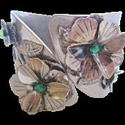 Vintage Silver Tone Metal Floral and Rhinestone Clamper Bracelet