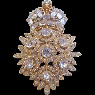 Vintage Ornate Rhinestone Crown Pin Brooch