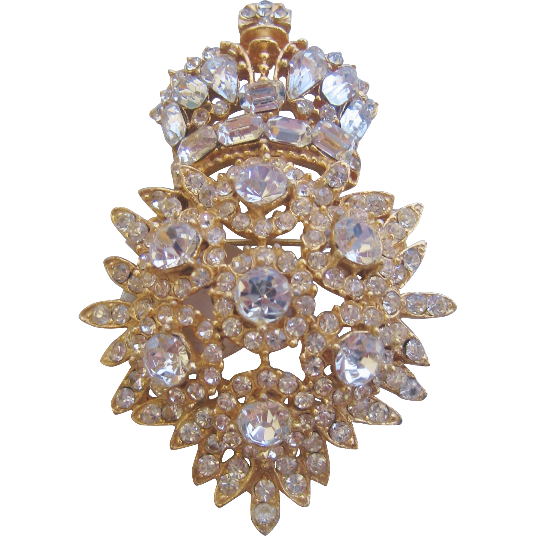 Vintage Ornate Rhinestone Crown Pin Brooch