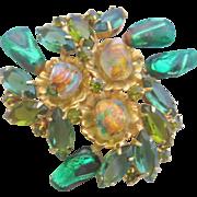 Vintage Green Art Glass Pin Brooch