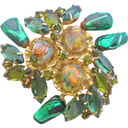 Vintage Green Art Glass Pin Brooch