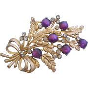 Vintage Purple Moon Stone Floral Pin Brooch