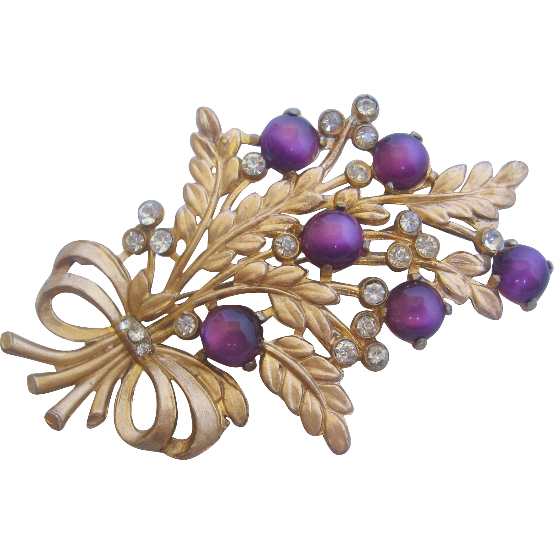 Vintage Purple Moon Stone Floral Pin Brooch From