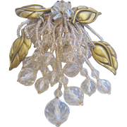 Vintage Early Crystal and Gold Tone Brass Leaf Pin Brooch