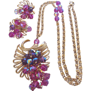 Vintage Park Lane Pink Crystal Necklace and Earrings Set