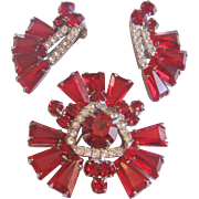 Rare Vintage Juliana -Delizza and Elster Red Tapered Baguette Rhinestone Pin and Earring Set