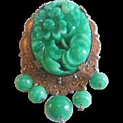 Huge Vintage Czech Press Molded Jadeite Glass and Brass Brooch-Pin
